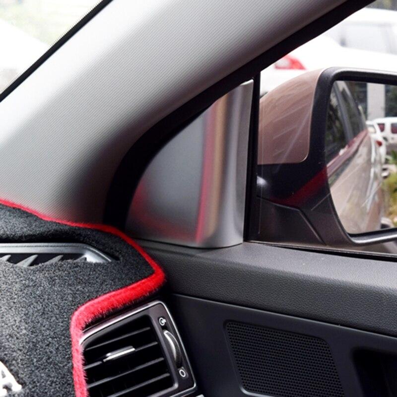 Bbincar 2 uds ABS cromo mate coche frontal interior embellecedor de cubierta triangular de ventana accesorios para Hyundai Elantra Avante 2016 2017 6th