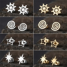 New Trendy Minimalist Cute Golden Multiple shapes Stainless steel stud earrings For Women And Girl P