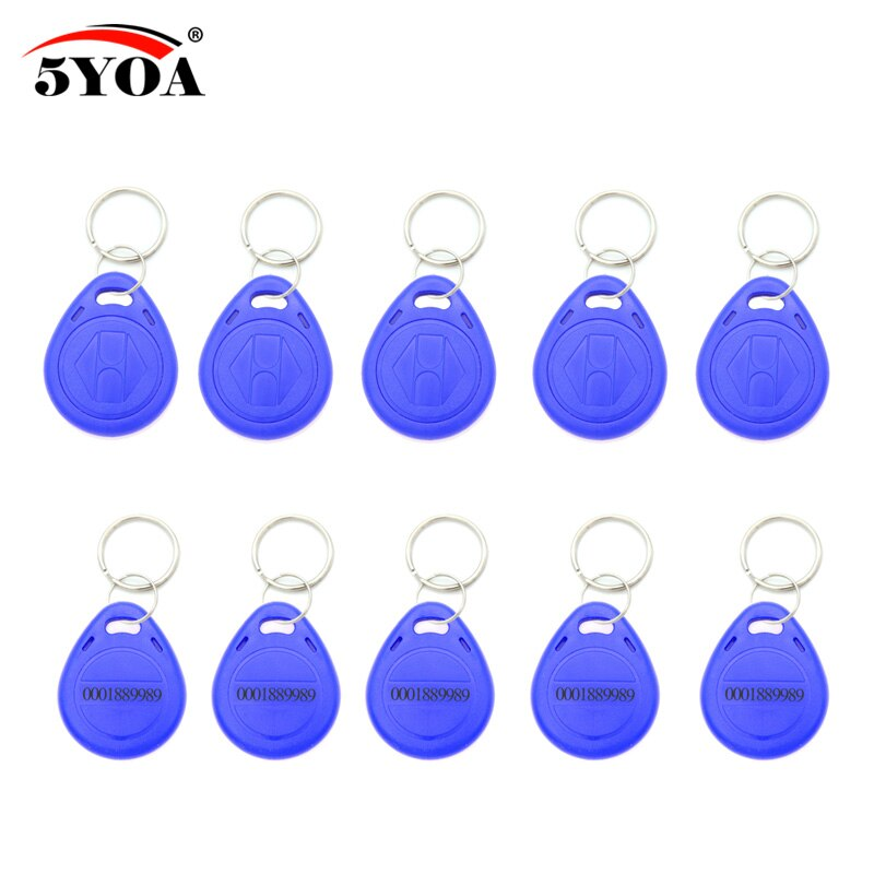 100 pces azul rfid 125 khz em4100 chave tag keyfobs anel chip keytab tk4100 tags 125 khz só leitura