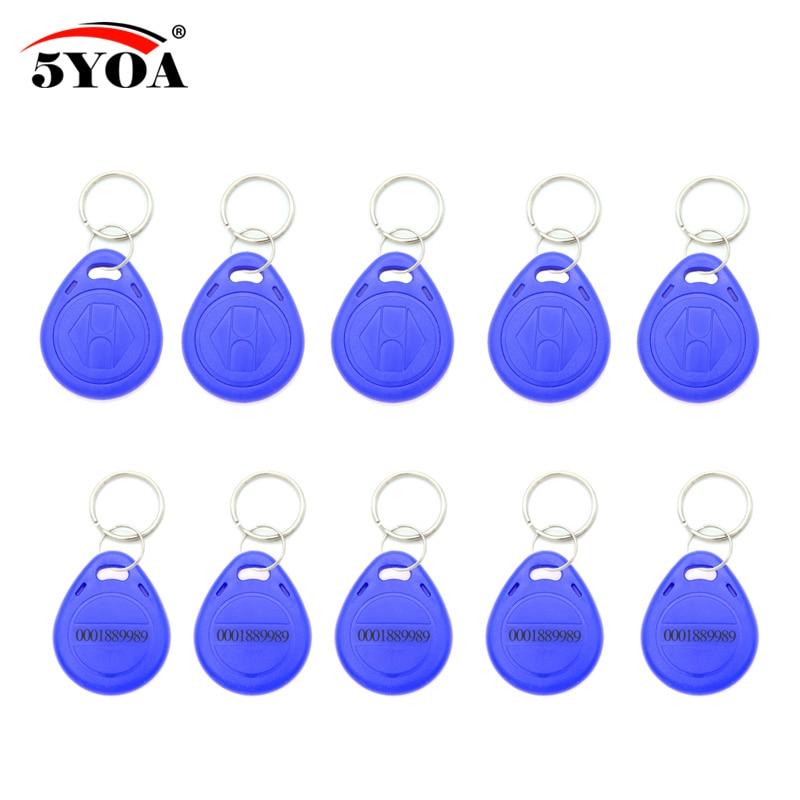 100pcs azul RFID 125 khz EM4100 etiqueta clave llaveros anillo Chip Keytab TK4100 etiquetas de 125 khz de sólo lectura