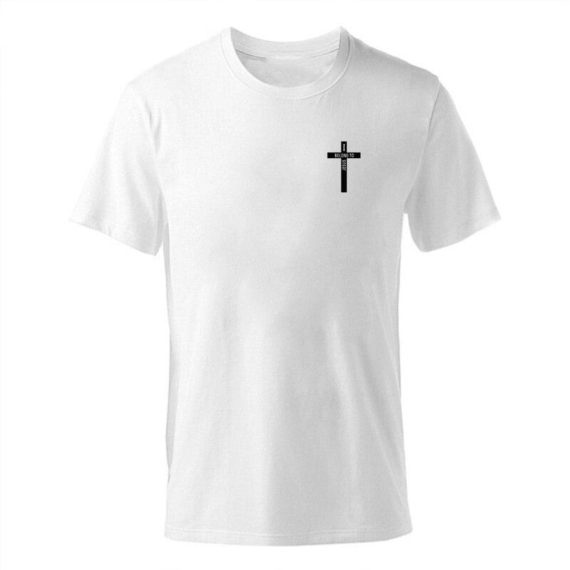 ENZGZL 2019 nueva camiseta de verano para hombre, camisetas 100% de algodón, Camiseta con estampado de cruces para hombre, camiseta de manga corta con cuello redondo para niños, camiseta blanca