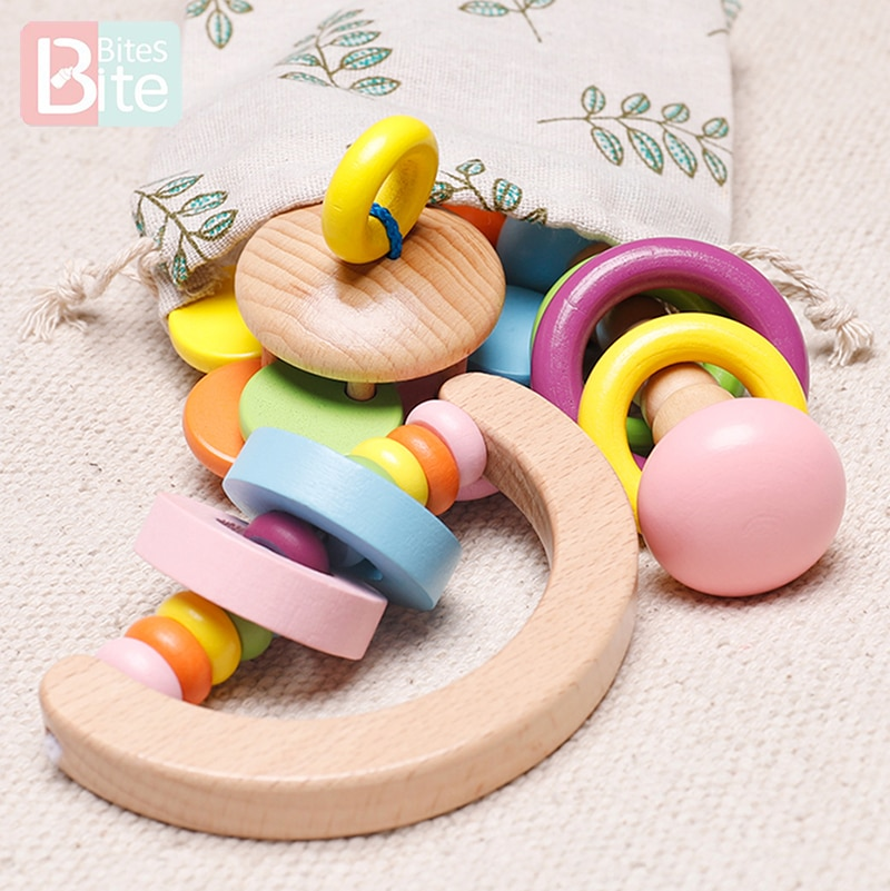 Wooden Rattles Baby Toys Grasp Play Game Teething Infant Toy Early Musical Educational Toy Toddler Rattles Children's Goods Gift недорого