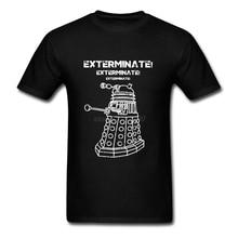 Exterminate 캐주얼 티셔츠 고품질 남성 닥터 daleks 짧은 소매 티 코튼 남성 망 녹색 셔츠