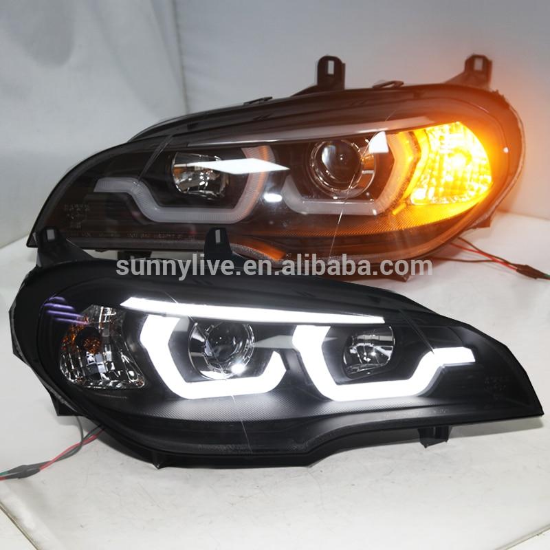 2007-2011 Year For BMW X5 E70 LED Head Light Lamps Black Housing JY