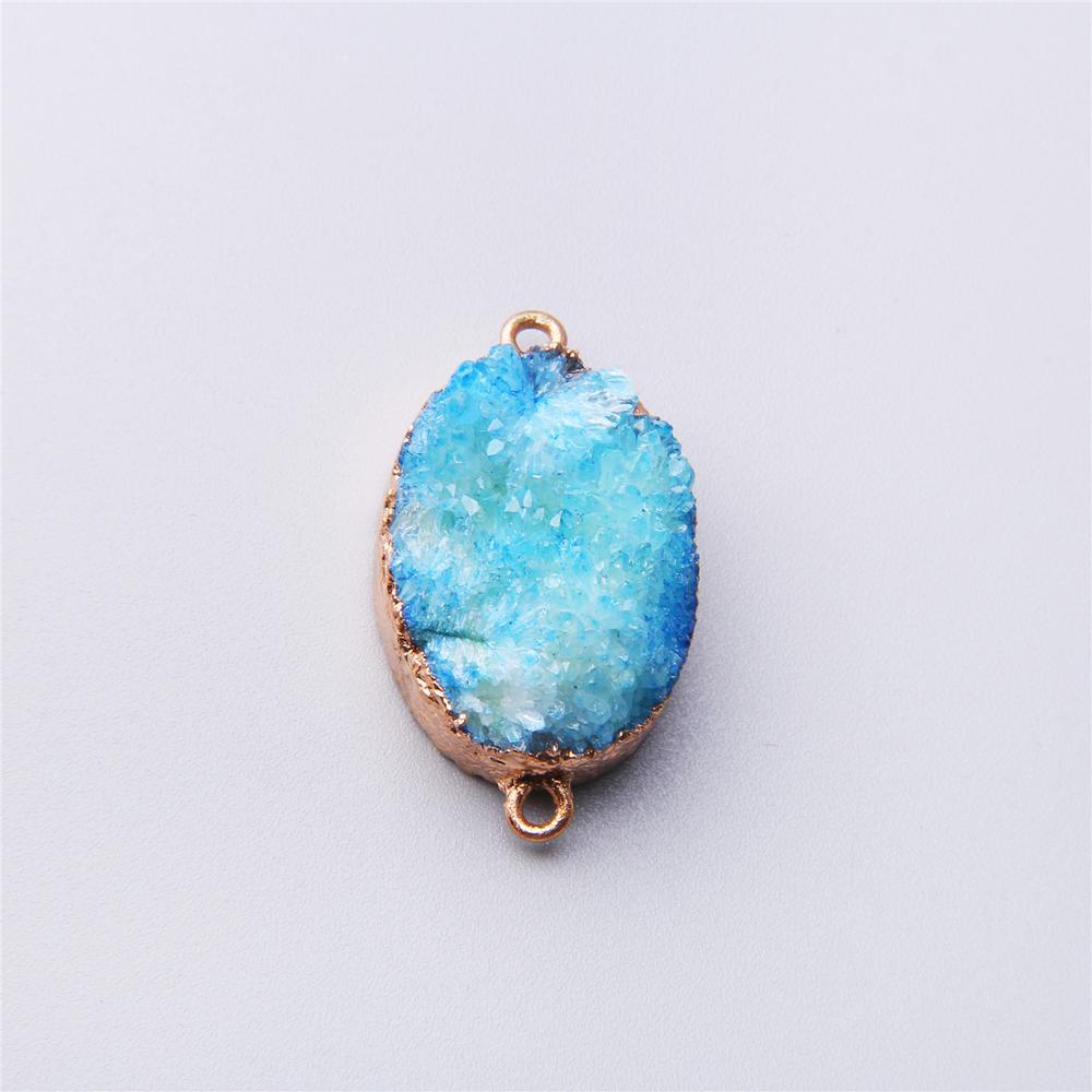 Azul grande de cuentas de cristal, colgantes de conexión, chapado en oro, piedra de ágata drusa Irregular, colgante de conexión, péndulo para la fabricación de joyas