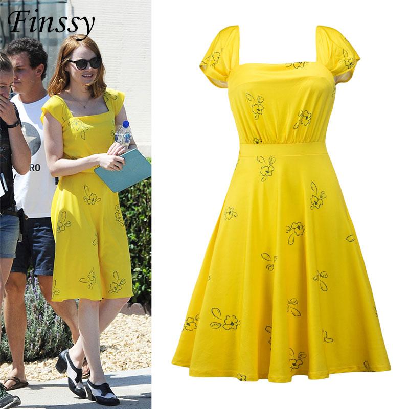 2017 Don't Forget Movie La La Land Hi-Res Yellow Summer Dress La La Land Cosplay Costume for Women Party Dresses