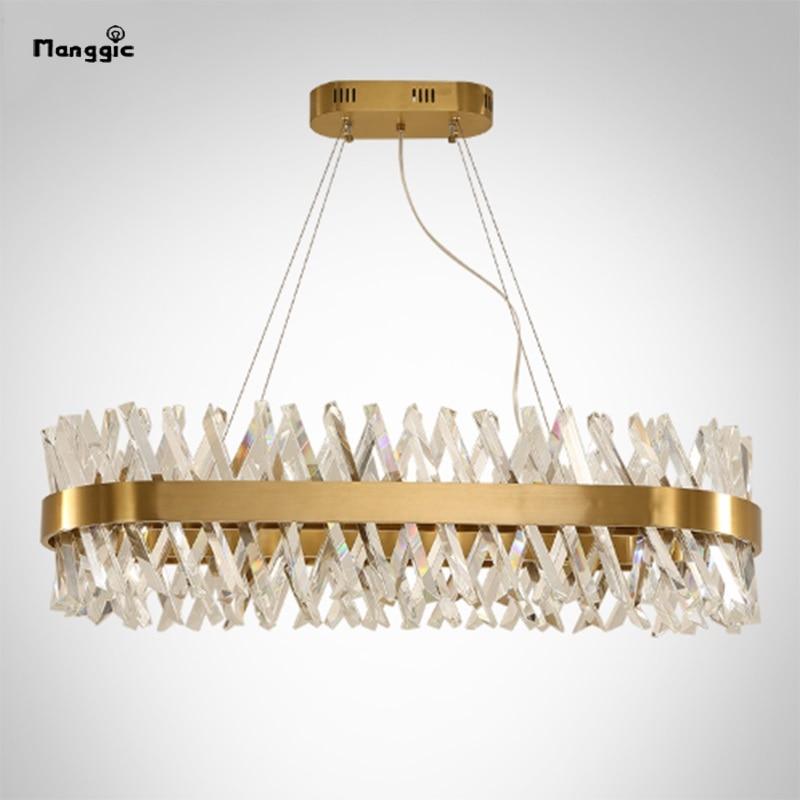 ثريا K9 Led مستطيلة الشكل ، تصميم حديث ، إضاءة داخلية ، إضاءة سقف زخرفية ، مثالية لغرفة المعيشة أو غرفة الطعام.