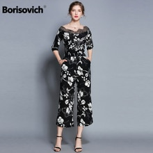 Borisovich جديد العلامة التجارية 2018 الخريف الأزياء الأزهار طباعة الدانتيل الخامس الرقبة عالية الجودة المرأة عارضة بذلة الساخن بيع M791