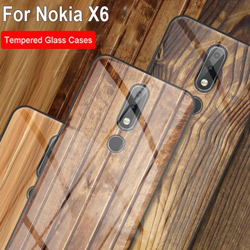 Funda de teléfono de vidrio templado con patrón de madera sólida para Nokia X6 x6 funda negra con patrón de mármol para Nokia X 6 casos de protección