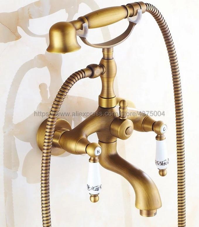 مجموعة حنفيات حوض الاستحمام العتيقة ، مجموعة دش مثبتة على الحائط مع صنبور خلاط بمقبض سيراميك ، صنبور حمام Ntf313
