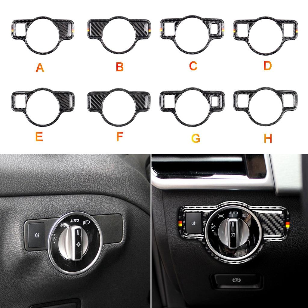 Estilo de coche, botones de interruptor para faros delanteros, cubiertas de molduras decorativas, pegatinas interiores para Mercedes CLA GLE GLK GL GLS SL ML SLC