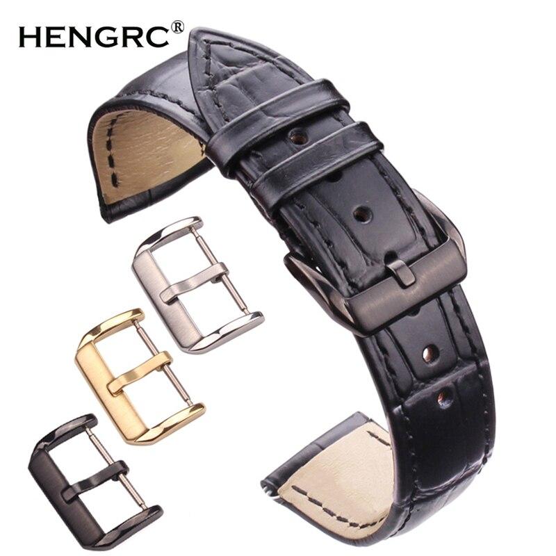 Correas de cuero de vaca de cuero genuino reloj duradero mujeres hombres Correa negro marrón 18 19 20 21 22 24mm reloj banda de acero hebilla
