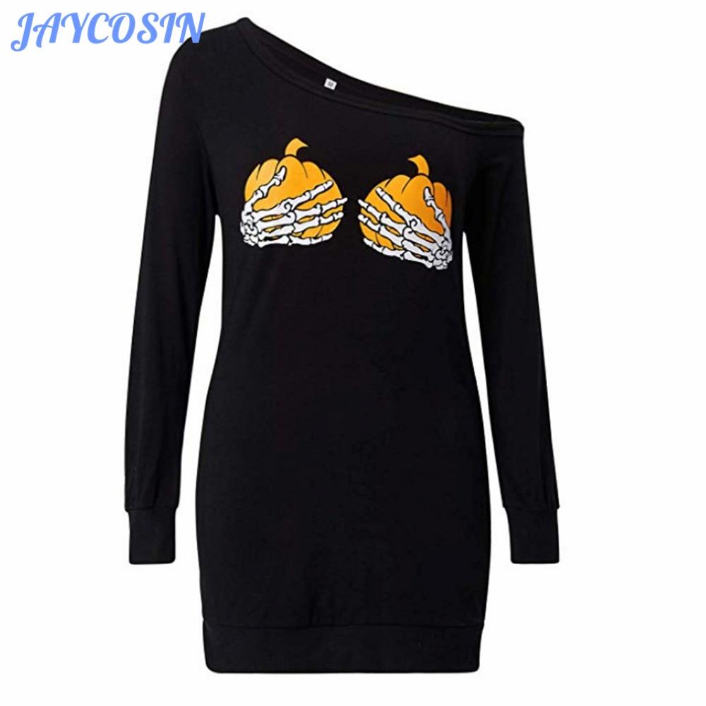 JAYCOSIN Clothes Women Long Sleeve T-Shirt Women Halloween Pickpocket Printing Oblique Collar Pullover Tops Et Chemisier Femme