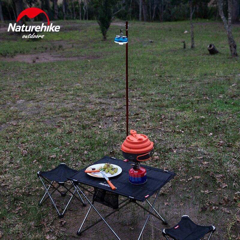 Naturehike, poste de luz plegable, herramientas de Camping, portátil, ligero, de aleación de aluminio, poste de lámpara ajustable, poste de Camping al aire libre, Picnic