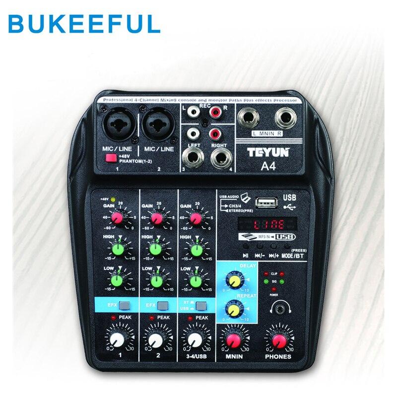 جهاز مزج صوت بلوتوث USB 4 قنوات ، وحدة مزج صوت ، جهاز مزج صوت صغير احترافي للدي جي والكاريوكي