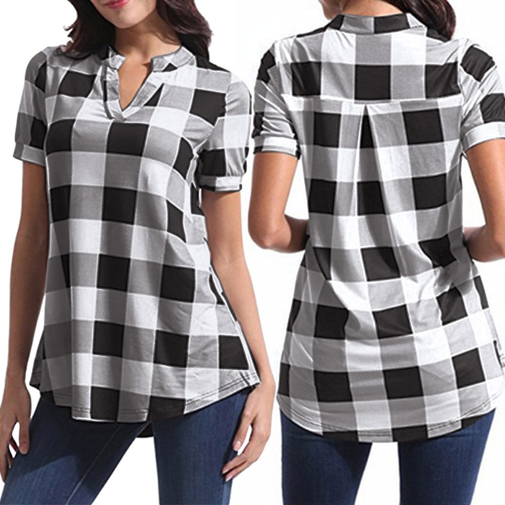 Plus Size 2019 Women Shirt Plaid Short Sleeve V-Neck Tops Irregular Elegant Hem Blouse Office Large Size clothing v placket curved dip hem blouse