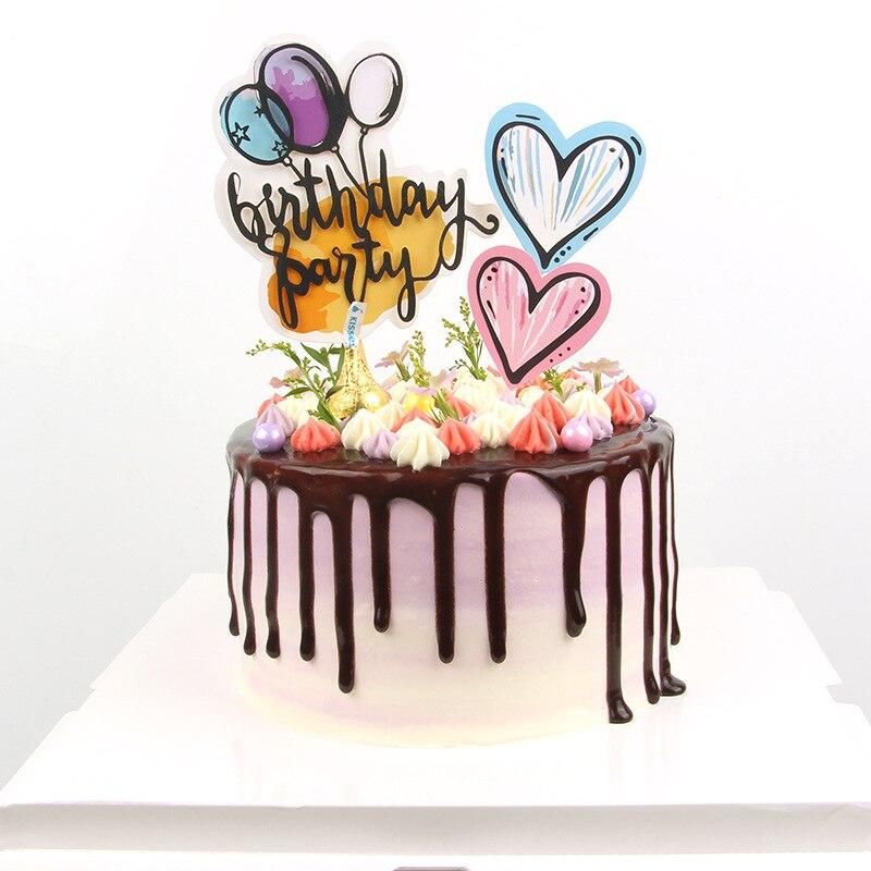 Nouveau ballon à Air joyeux anniversaire gâteau Topper coloré bougie décoration de gâteaux pour enfants fête danniversaire gâteau décorations bébé douche