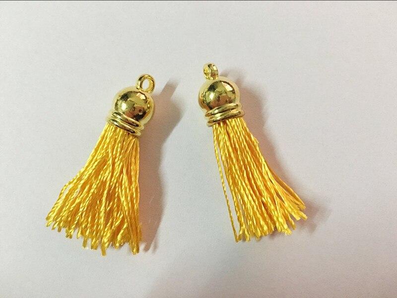 Free Shipping 100Pcs 45mm Golden Plastic Caps Handbag Tassels,DIY Accessory,Yellow Twist Silk Cord,Chamois Macrame Bag Component