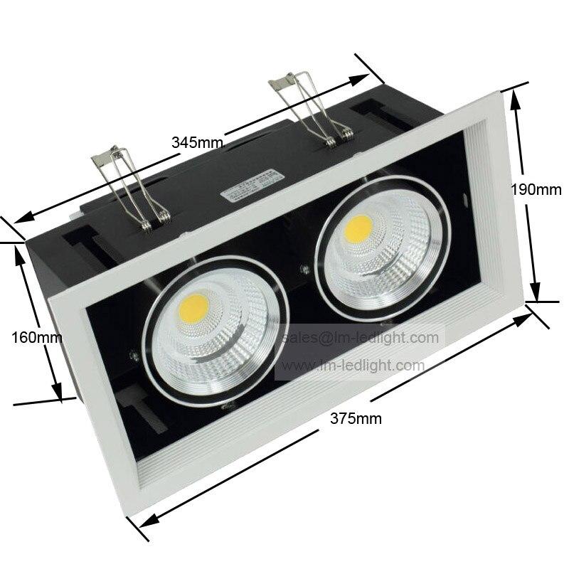 Диммируемая 30 Вт двойная COB Светодиодная лампа 2*15 диммируемая потолочная решетка