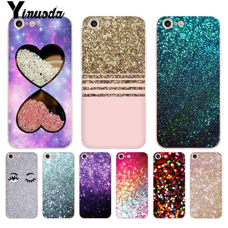 Yinuoda Glitter Gold Bling Rhinestone Diamonds Crystal Heart Transparent Phone Case for iPhone 8 7 6 6S Plus X 5S SE XR XS XSMAX