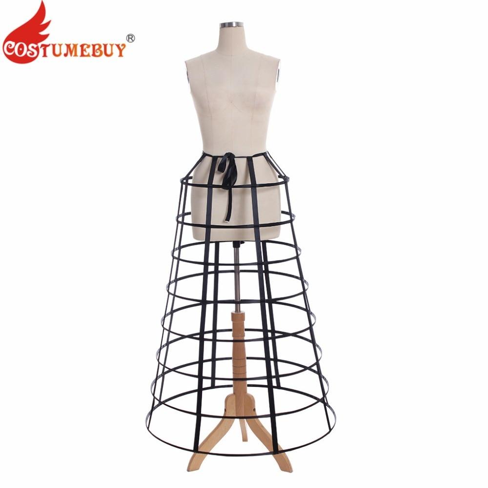 Costumebuy vitoriano petticoat crinoline underskirt feminino pirâmide gaiola saia rococó gótico gaiola agitação 8 hoop preto/branco