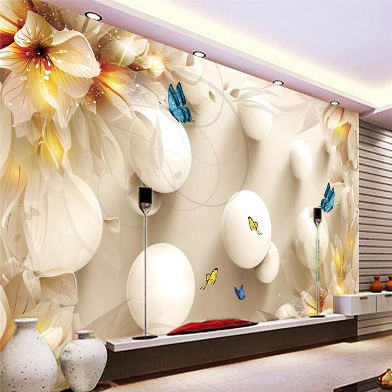 Фреска для гостиной, лилия, Бабочка, шар, муралес, де сравнению, обои, современный фон, большая картина, домашний декор