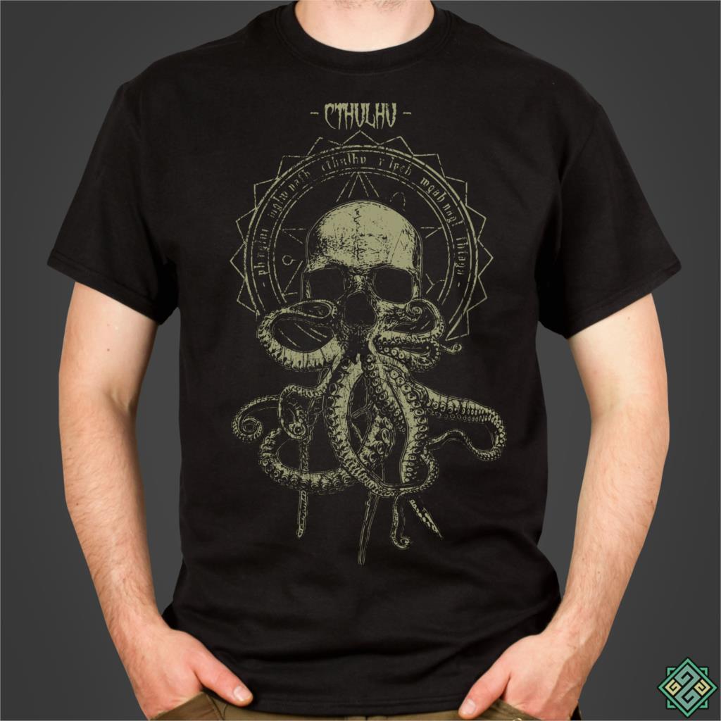 Футболка Cthulhu Cultist - H P Lovecrafts Call of Cthulhu, Мужская футболка с рисунком ужаса, отпечатанная вручную