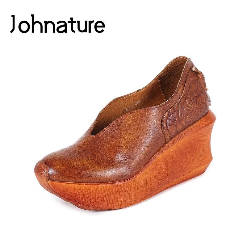 Johnature 2020 אביב/סתיו עבה בלעדי נעלי עור נוח לנשימה בעבודת יד רטרו נשים נעלי משאבות
