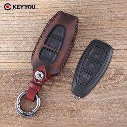 Чехол KEYYOU из натуральной кожи для ключей от автомобиля с дистанционным управлением для Ford Fiesta Focus 3 4 MK3 MK4 Mondeo Ecosport Kuga Focus ST