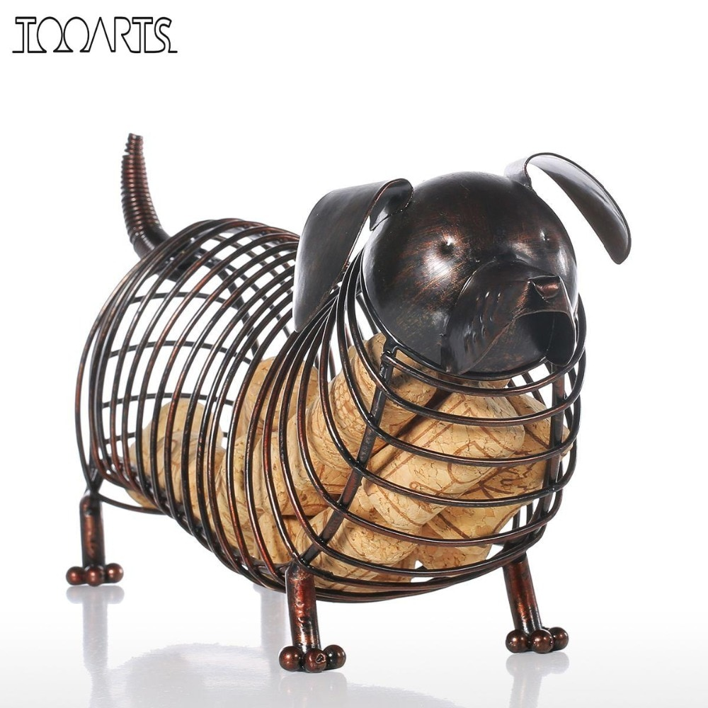 Estatuillas de animales de Metal Tooarts, contenedor de corcho de vino Dachshund, artesanía moderna de hierro Artificial, accesorios de decoración para el hogar, regalo