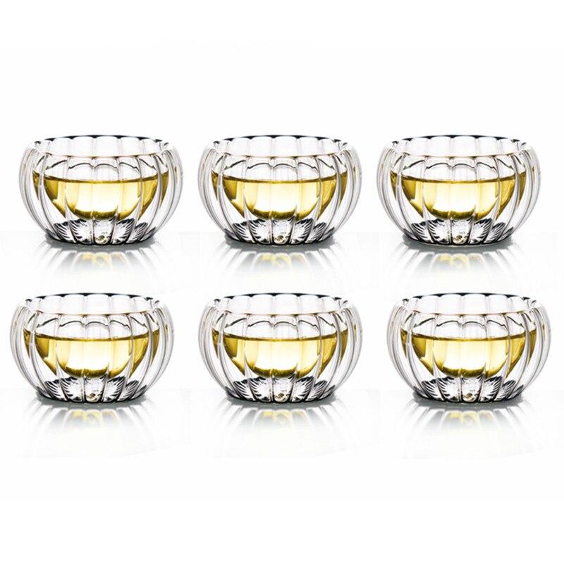 Taza de té de cristal a rayas de doble pared de 50 cc taza de té kungfú chino botella de té negro aislamiento térmico Copa regalo para Amiga