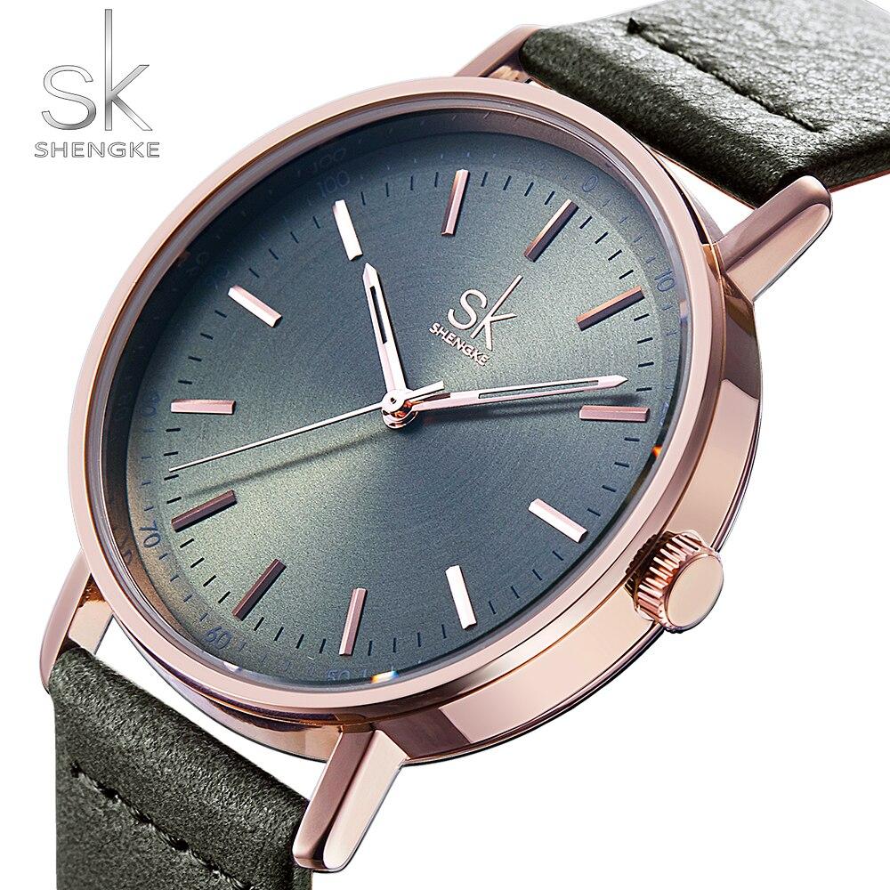 Shengke Colorful Leather Women Watches Quartz Ladies Wristwatch Reloj Mujer 2019 New SK Vintage Clock