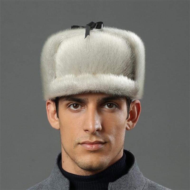 IANLAN Deluxe Men Russian Style Real Sea-Lion Fur Bomber Hat Full-pelt Sea-Lion Furskin Peaked Caps Solid Winter Hat Cap IL00244