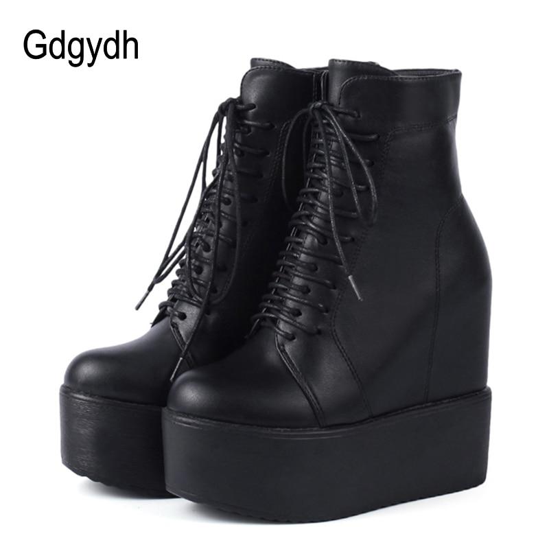 Gdgydh 2020 Spring Wedges Ankle Booties Black Leather Rubber Sole Shoes Platform Boots Women Lacing Autumn Platform Heels Shoes