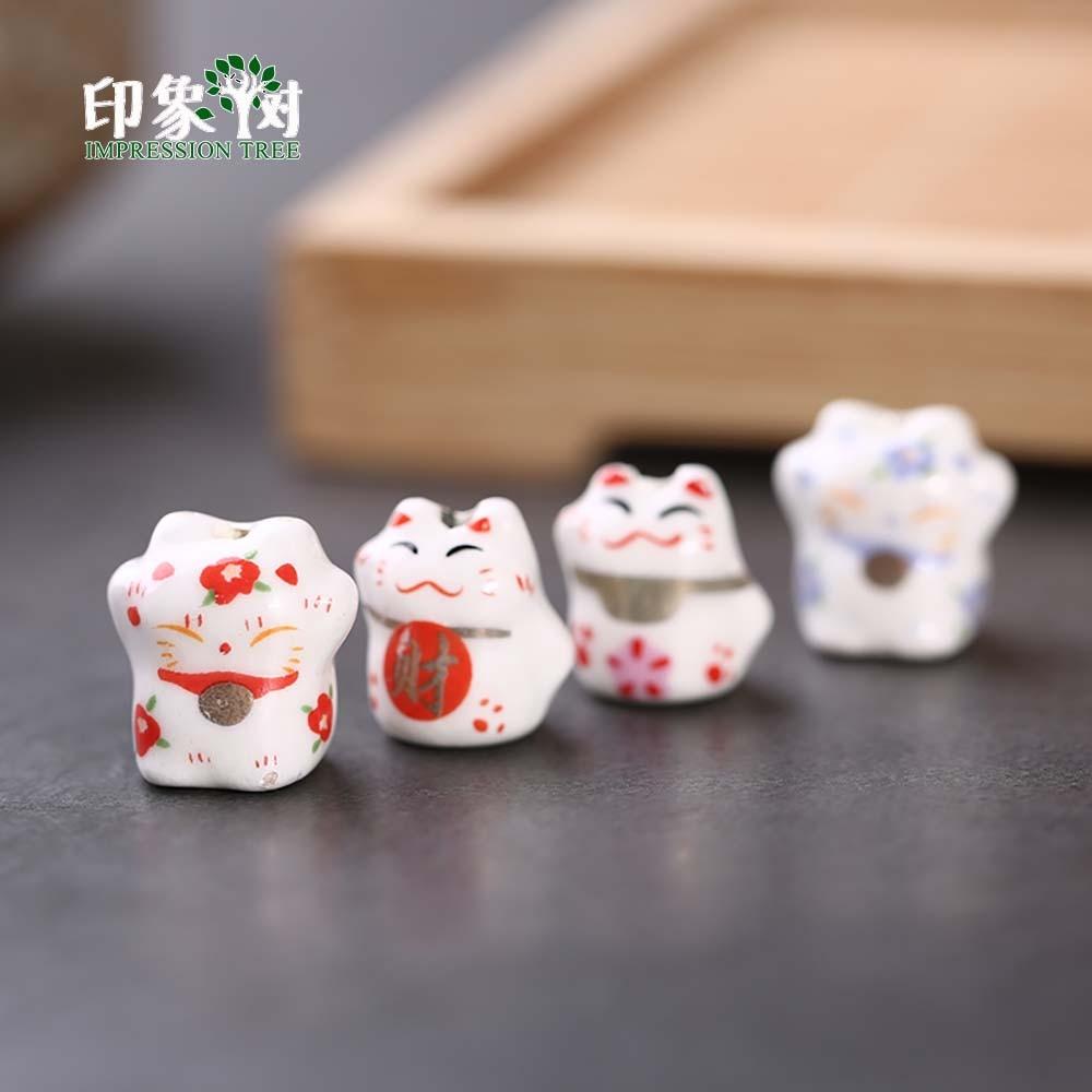 10pcs 12-14mm Lucky Cat Ceramic Beads Maneki Neko Cat Spacer Ceramic Beads Cute Kawaii Loose Beads DIY Jewelry Makings 1