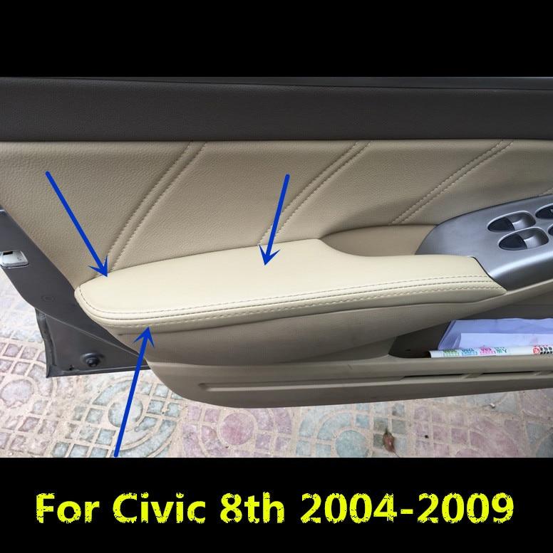 Reposabrazos de puerta Interior, cubierta protectora de cuero de microfibra para Honda Civic 8th 2004 05 06 07 08 2009 AB152