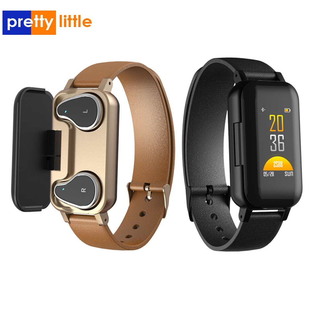 T89 Dual Bluetooth 5.0 Earphone Smart Bracelet Heart Rate Blood Pressure Tracker Smart Watch Men women For IOS Android Phone