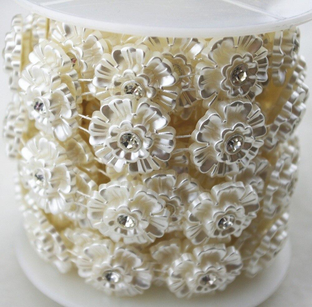 5y 24mm en forma de flor marfil perla strass cadena adornos manualidades de costura apliques para trajes decoración de boda LZ99