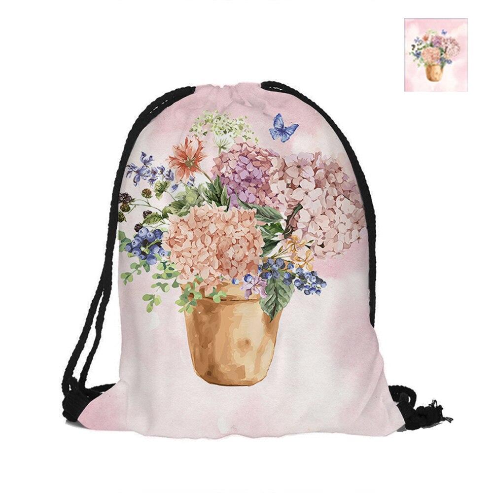 Mochila con cordón con estampado de plantas en maceta Hydrangea, bolsos de poliéster a la moda para mujeres, hombres, bolsa para niños, mochilas