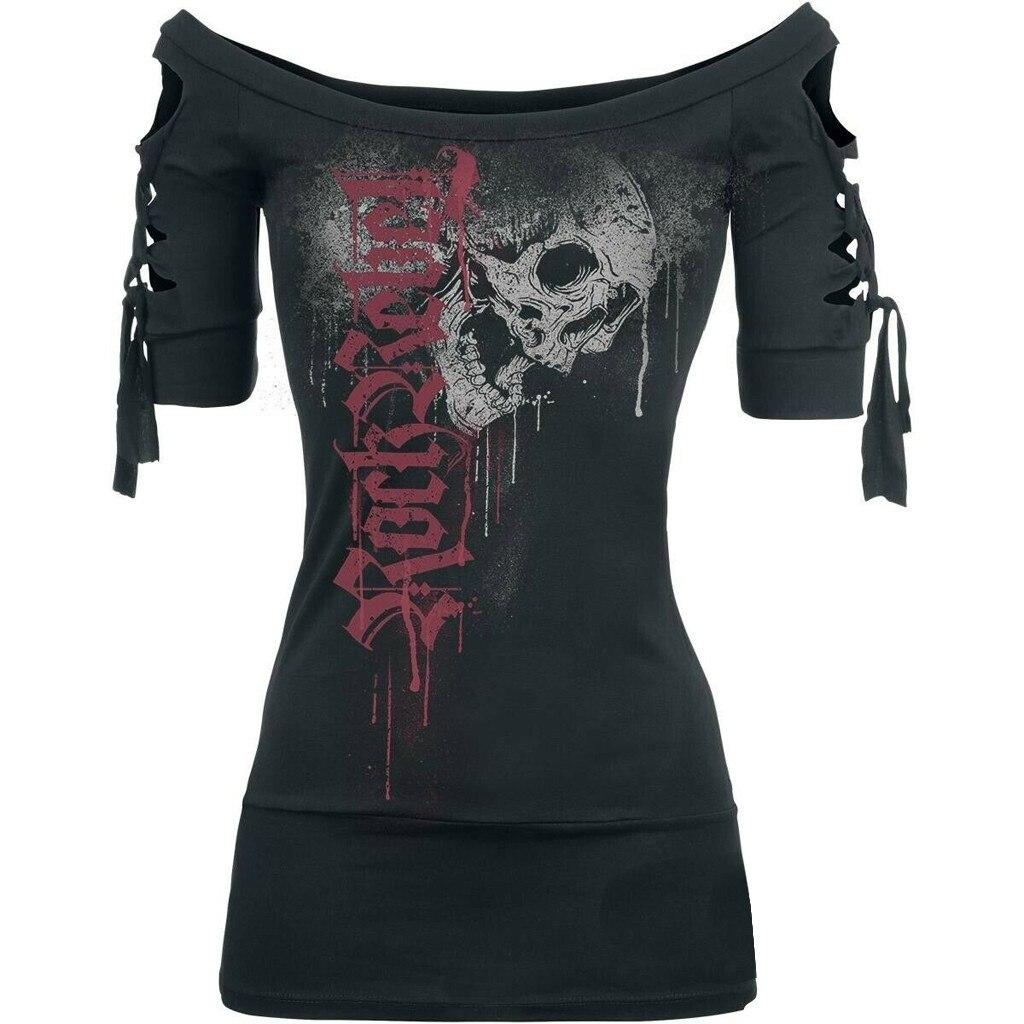 Blusa feminina estampada de caveira, camiseta preta aberta plus size camisa feminina plus size preta # g6 2019