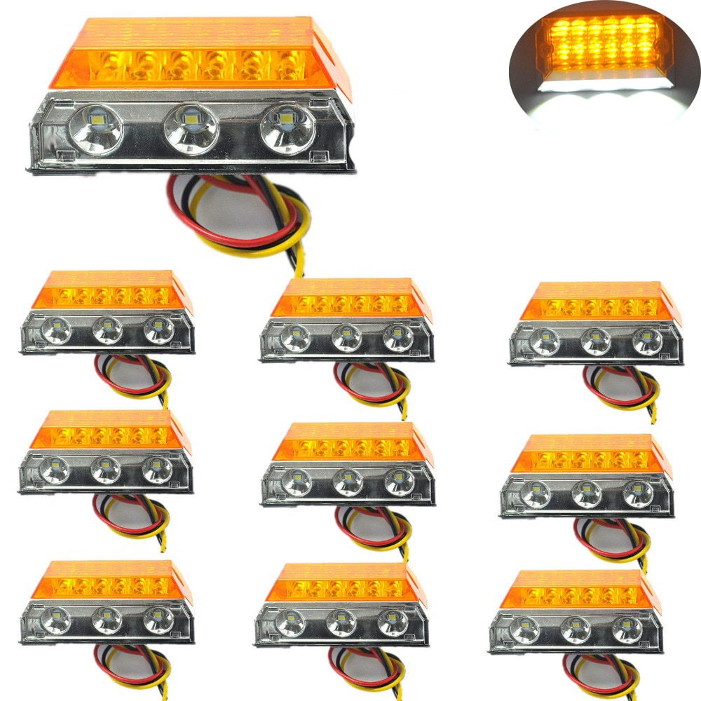 10 pcs Car LED Clearance Lights Side Marker Lamps for Automobiles Truck Trailer Caravan 24V HEHEMM