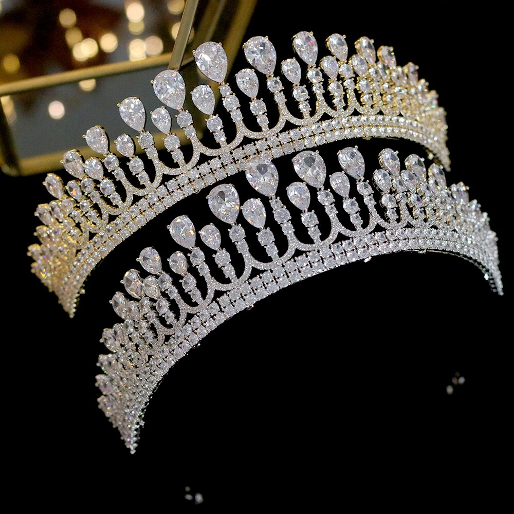New Tiara Zirconia Crown Wedding Jewelry Headband Top Quality 2019 Crown Headwear Zircon Girl Bride Gift