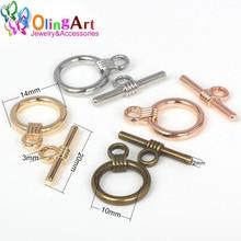 OlingArt 14*20MM Toggle Clasps Round Antique Bronze/silver-color/gold-color rose gold color Bracelet necklace DIY jewelry making