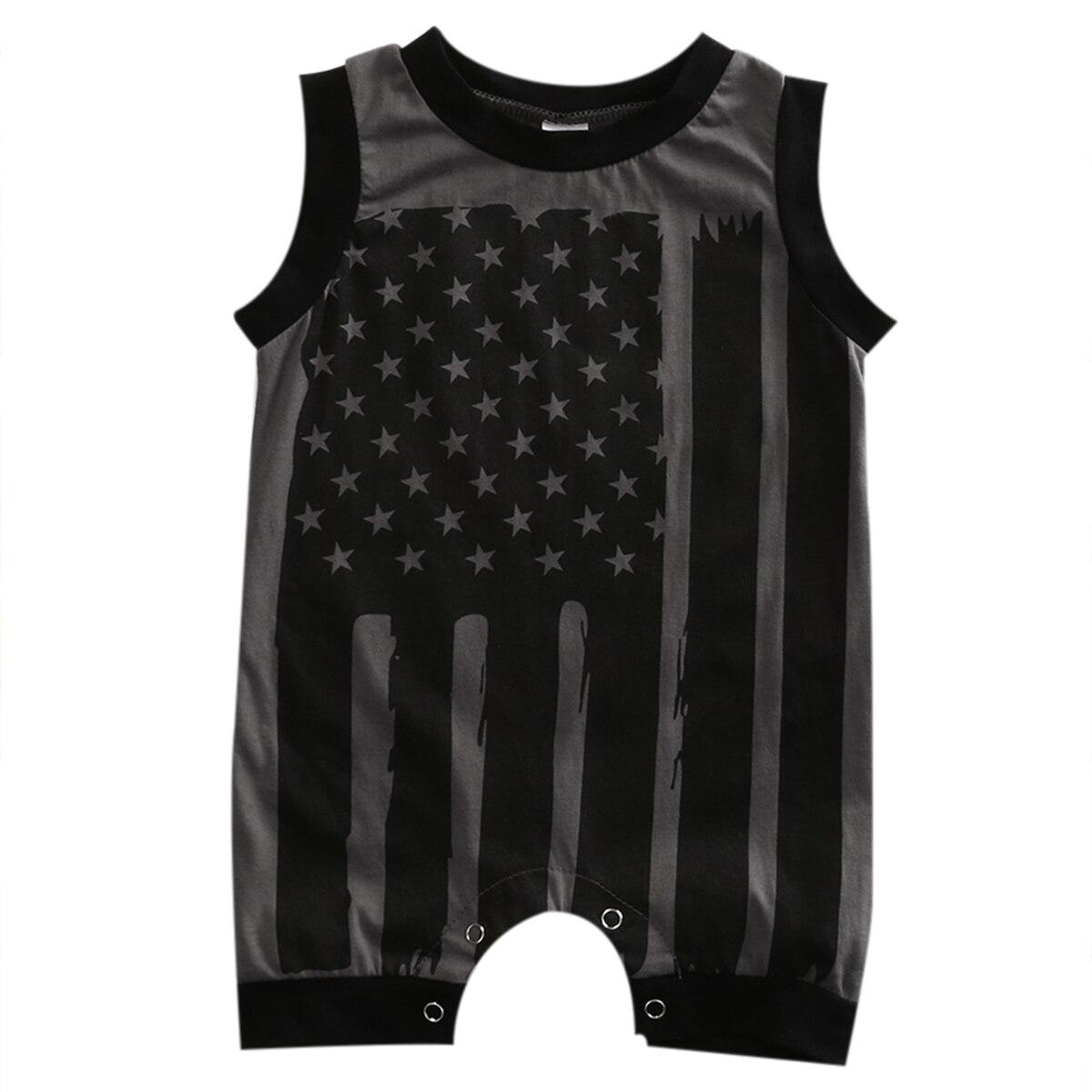 Sommer 2017 Neugeborenen Kleinkind Kinder Baby Jungen Mädchen Ärmel Gestreiften Flagge Spielanzugoverall Kleidung Outfits