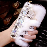 Luxury Fancy Diamond crystal stones fox fur phone case For Samsung galaxy j2 j4 j6 j7 J8 a6 a7 a8 2018 A10 A20 A3 prime plus pro