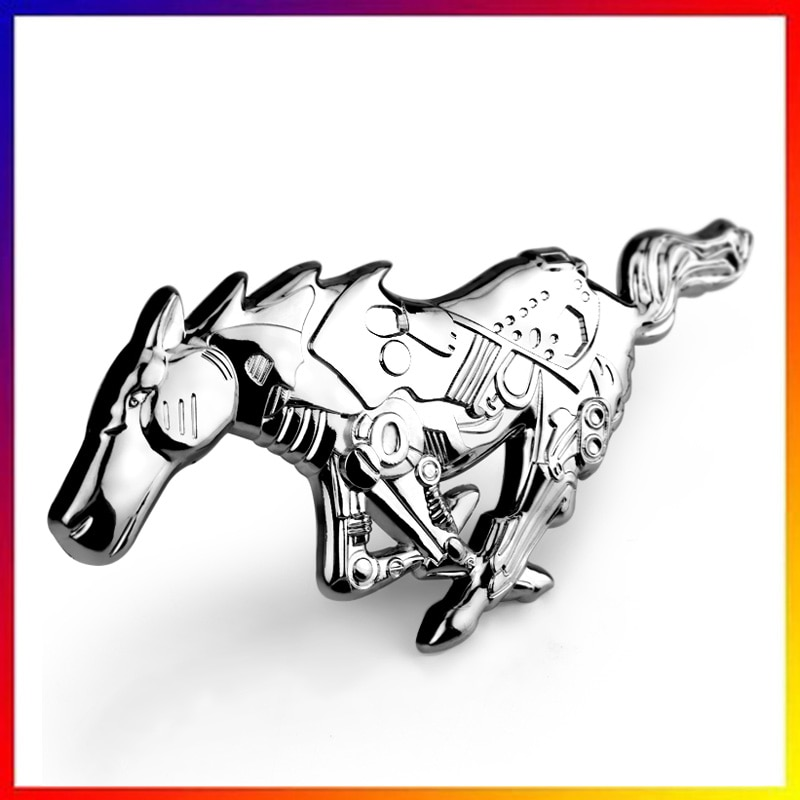 3d estilo cavalo liga de metal do carro corpo automóvel frente capa grille emblema adesivo para ford mustang universal prata (0238)
