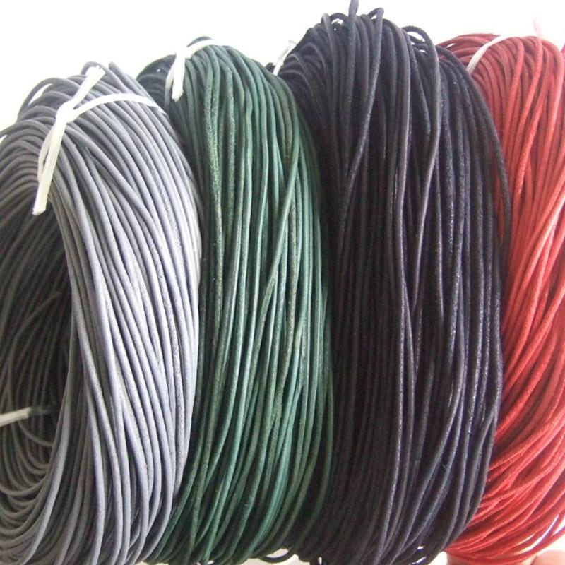 10 yardas al por mayor rojo verde negro gris 2mm superficie rugosa Cordón de cuero verdadero ajuste collar pulsera cordones hechos a mano