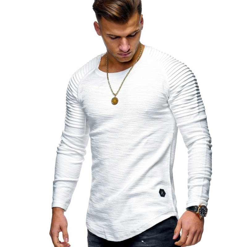 Hot 2021 Solid Color Sleeve Pleated Patch Detail Long Sleeve T-Shirt Men Spring Casual Tops Pullovers Fashion Slim Basic Tops