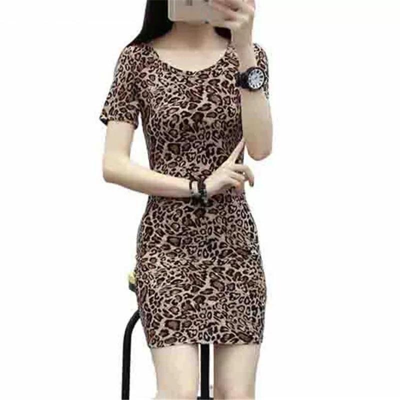 Vestido de verano de talla grande de leopardo Sexy para mujer vestido ajustado de talla grande de Europa y América S-4XL DF2151