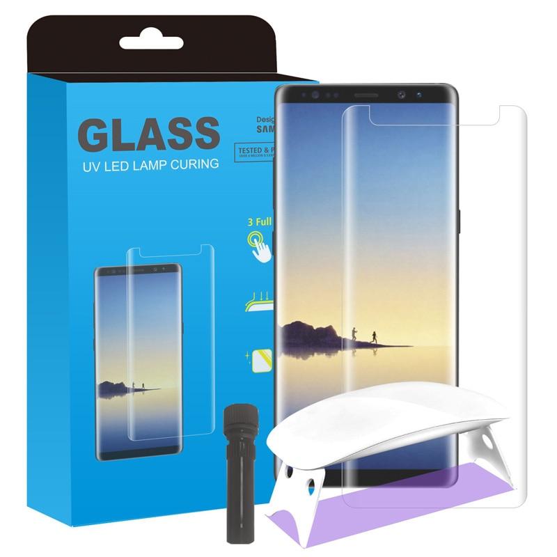 2 uds pegamento total líquido de vidrio protector de pantalla de vidrio templado con gran luz UV para Samsung Galaxy S10 + S10 5G NOTE 8 9 10 Pro